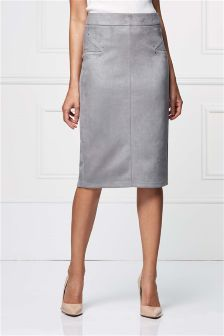 Suedette Pencil Skirt