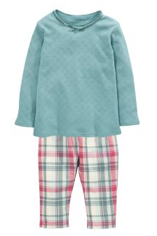 Pointelle Top And Woven Check Pyjama Bottoms Set (9mths-8yrs)