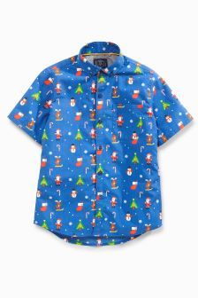 Short Sleeve Christmas Print Shirt (3-16yrs)