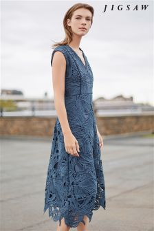 Jigsaw Green Leaf Lace Dress
