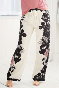 Satin Floral Print Pyjama Bottoms