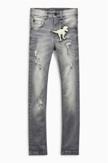 Distressed Super Skinny Jean With Dino Keyring (3-16yrs)