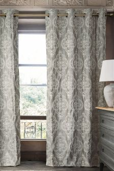Grey Delicate Textured Damask Eyelet Curtains