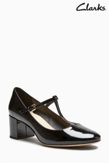 Clarks Black Patent Orabella Fern T-Bar Court
