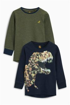 Long Sleeve Dino T-Shirts Two Pack (3-16yrs)