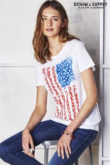 Ralph Lauren Denim And Supply White Flag Tee