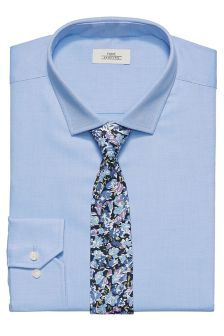 Regular Fit Shirt With Floral Tie Set