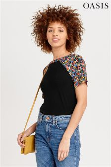 Oasis Black Daisy Print T-Shirt