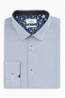 Geo Print Contrast Trim Regular Fit Shirt