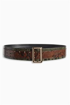 Wide Faux Snake Skin Belt