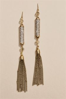 Sparkle Drop Tassel Earrings
