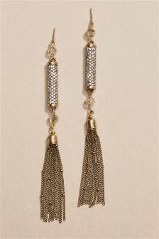 Sparkle Drop Tassel Earrings