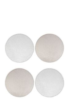 8 Piece Metallic Gold/Silver Faux Leather Reversible Mat Set