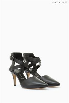 Mint Velvet Black AALIYA Leather Cross Strap Court Shoe