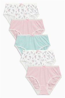 Ditsy/Stripe Briefs Five Pack (1.5-12yrs)