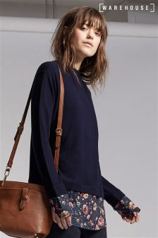 Warehouse Navy Floral Woven Mix Jumper