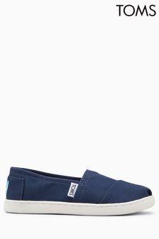 Toms Navy Canvas Velcro Alpargatas Slip-On Shoe