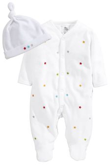 Velour Hat And Sleepsuit Set (0-18mths)