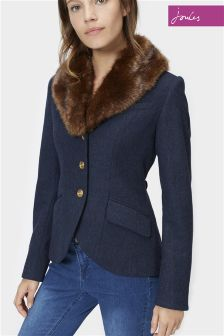 Joules Willa Navy Tweed Jacket