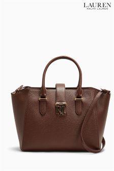 Ralph Lauren Brown Textured Leather Shopper Bag