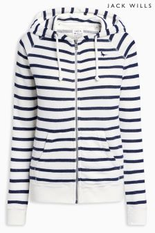 Jack Wills White Stripe Congresbury New Slub Zip Through