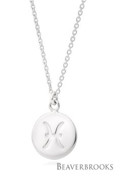 Beaverbrooks Silver Pisces Disc Necklace