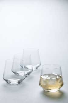 Set Of 4 Handmade Crystal Tumblers