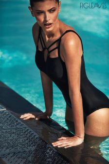 Figleaves Black Icon Baroque Underwired D-G Swimsuit