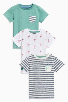Green/Stripe/White T-Shirts Three Pack (3mths-6yrs)