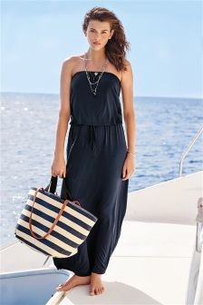 Jersey Pull-On Maxi Dress With Lace Side Panels