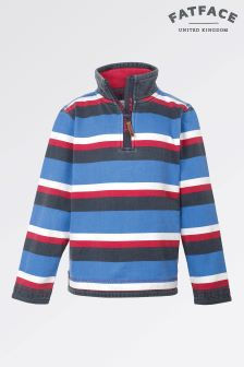 Fat Face Cobalt Jamie Stripe Half Neck Sweat