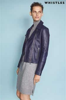 Whistles Navy Clean Leather Biker Jacket