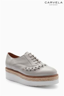 Carvela Pale Grey Lost Lace Up Flat Form Shoe
