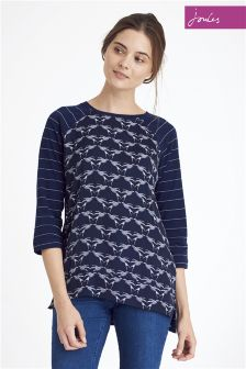 Joules Henny Navy Woven Jersey Top