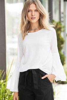 Fluted Long Sleeve Top