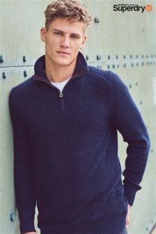Superdry Navy Quarter Zip Jumper