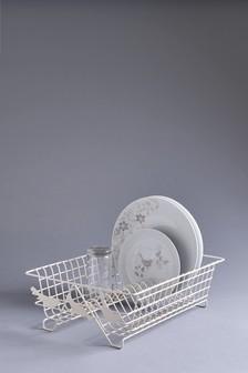 Song Bird Cream Metal Dish Drainer