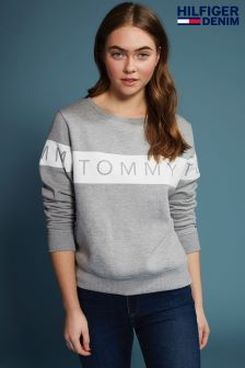 Tommy Hilfiger Denim Grey Basic Graphic Sweatshirt