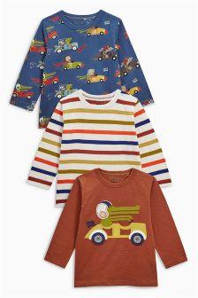 Long Sleeve Appliqué T-Shirts Three Pack (3mths-6yrs)