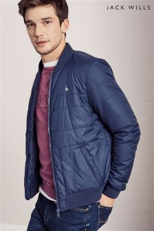 Jack Wills Navy Wavell Quilted Bomber Jacket
