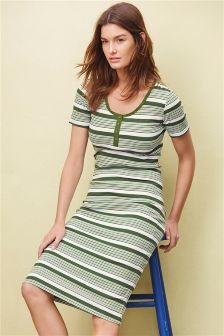 Green Stripe Bodycon Dress