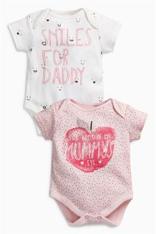 Apple Mummy And Daddy Short Sleeve Bodysuits Two Pack (0mths-2yrs)