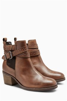 Leather Stud Strap Chelsea Boots