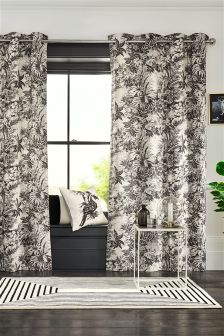 Fine Etched Leaf Print Eyelet Curtains