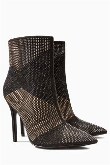 Deco Heatseal Point Ankle Boots