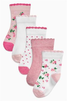 Floral Socks Five Pack (Younger Girls)