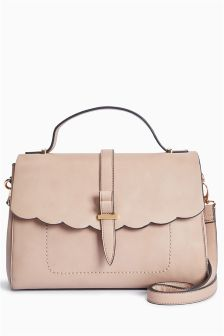 Scallop Edge Top Handle Bag