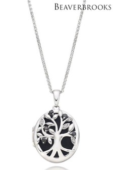 Beaverbrooks Silver Cubic Zirconia Tree Locket