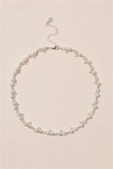 Silver Tone Pearl Effect Necklace
