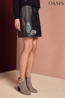 Oasis Black Enchanted Forest Embroidered Leather Skirt